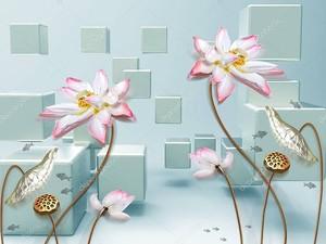 Кубики, большие розовые цветы на позолоченных стеблях