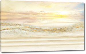 Пейзаж бежевый мраморный фон, море, восход солнца, волны