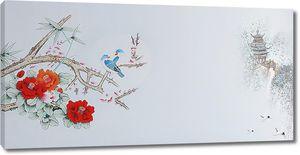 Цветущая ветка с пагодой