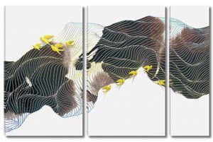 Сетка линий на изображении гор