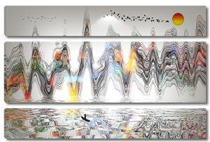 Пики скал разноцветными линиями