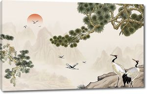 Японские журавли на закате
