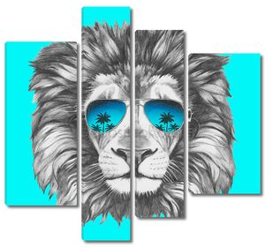 Портрет Льва с темные очки