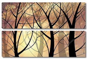 Черные контуры деревьев на пастельном фоне.