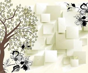 Дерево с листьями, черный контур цветов