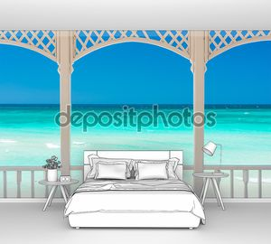 Терраса с видом на тропический пляж