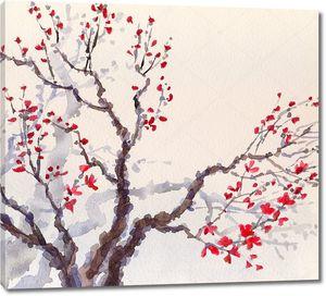 Акварель фон. Красные цветы на ветвях старое дерево.