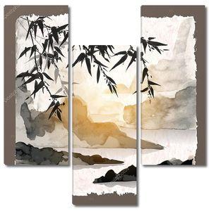 Карточка с бамбуком и горы