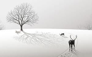 Олень идет по снегу