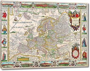 Старая карта с изображениями вокруг