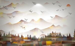 Лес и горы в коричневой гамме