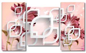 Розовый фон с белыми 3d элементами и темными цветами
