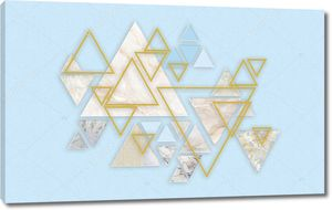 Мраморные треугольники разных цветов и треугольные золотые рамы