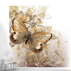 Симпатичные стильный цветочный фон с бабочкой
