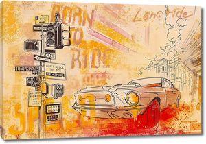 Рисунок автомобиля на фоне города