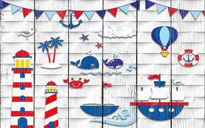 Картонные фигурки  маяков и  кораблей