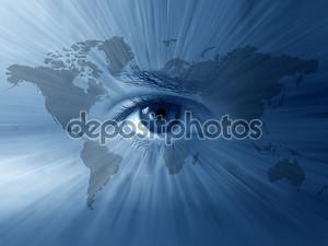 Карта мира и голубые глаза