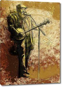 Уличный музыкант поет и играет на банджо
