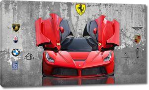 Красная спортивная машина с поднятыми дверцами