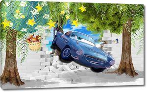 Голубая машинка в проломе стены