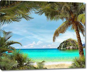Пальмы на пляже перед островом
