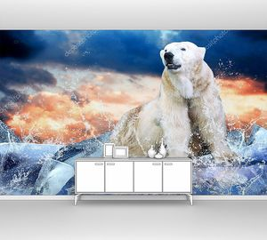 Белый медведь на льдине в облаках