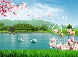 Озеро, два лебедя, мыльные пузыри