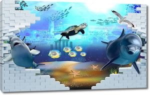 Кирпичная стена, морские животные - дельфины, рыбы, птицы