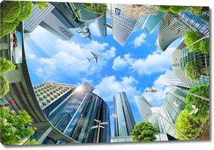Вид снизу на небоскребы и небо