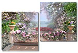 Прекрасный парк с цветочными деревьями