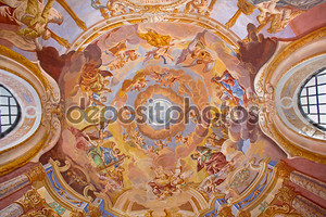 BANSKA STIAVNICA, SLOVAKIA - FEBRUARY 20, 2015: The fresco on cupola in the middle church of baroque calvary by Anton Schmidt from years 1745. Angels with the music instruments.