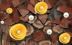 Желтые абстрактные цветы на древесине