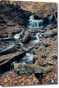 Водопад в парке осенью
