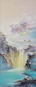 Горный водопад красками