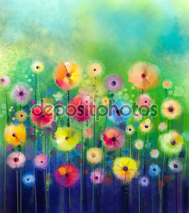 Abstract floral watercolor painting. Hand paint Yellow and Red flowers in soft color on green color background. Spring flower seasonal nature background