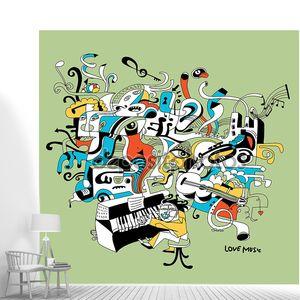 Творческие иллюстрации музыкант, играющий на фортепиано - абстрактный музыкальная концепция