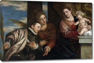Кальяри Карло. Мадонна с младенцем, святой Люцией и святым мученником