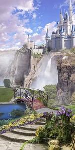 Вид на замок с водопадом