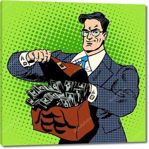 Супер бизнесмен с чемоданом денег