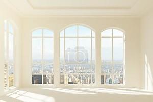Современный свет интерьер с видом на город