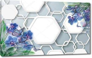 3d иллюстрация, серый фон, белые шестиугольники, синие орхидеи и бабочки