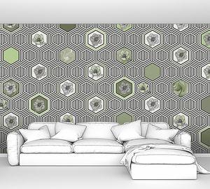 Geometrical fusion-серо-зеленый орнамент из сот
