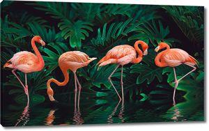 Фламинго в тропической зелени