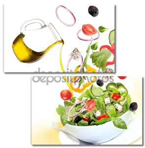 Fresh salad with poured olive oil