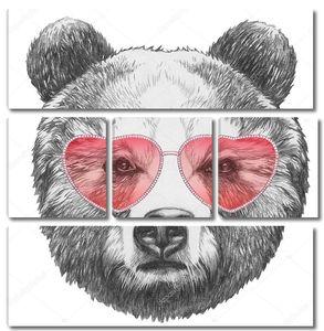 Медведь в очках в форме сердца