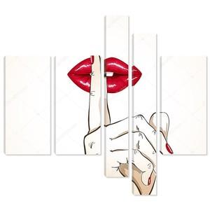 Иллюстрация женщины губы пальцем в Тсс подписать