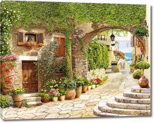 Старинная улочка с цветочными горшками