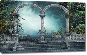 Туман за каменной аркой