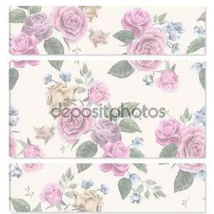 Цветочный узор с розовыми розами