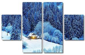 Деревянная хижина с зажженным окном